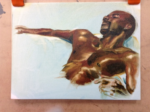 life painting male model