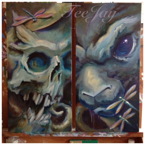 skull and bunny paintings