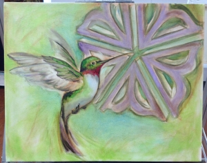 Rochester Flower with humming bird - painting in progress