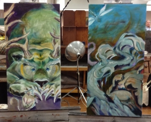 bear and bunny paintings in progress