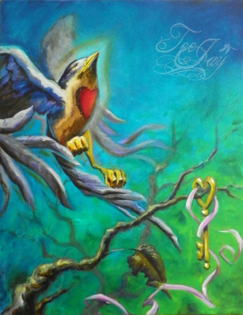 Letting Go (bird and key) oil painting