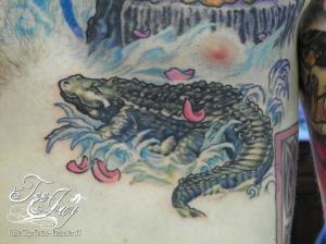 Marsh Croc tattoo in progress