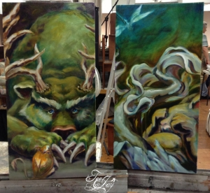 bear and bunny paintings, work in progress