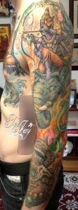 Buddha Mara sleeve tattoo
