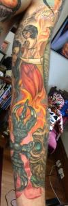 Buddha Mara tattoo sleeve