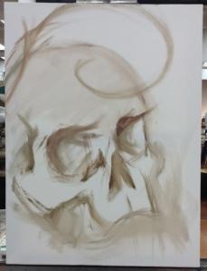 starting skull painting