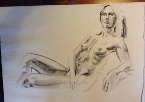 female figure drawing reclining