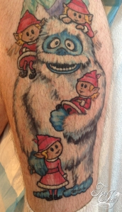 Abominable snowman tattoo healed