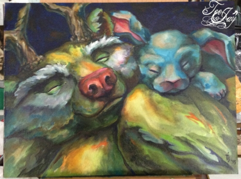 Bear and Bunny painting oil