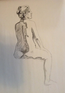 figure drawing woman back seated