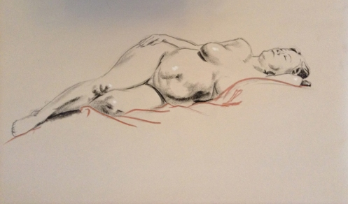 reclining woman figure drawing
