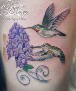 realistic hummingbird tattoo
