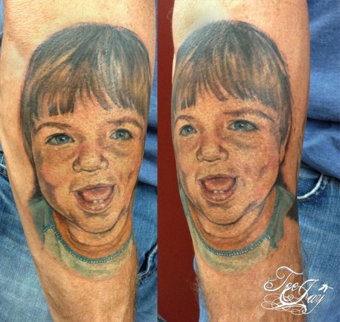 Wayne's Son portrait tattoo