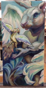 flying lessons oil painting in progress