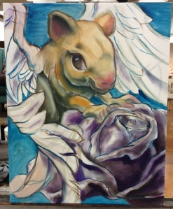 another flying rodent painting in progress