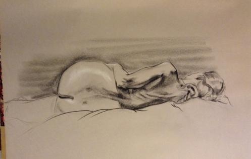 figure drawing back female lying