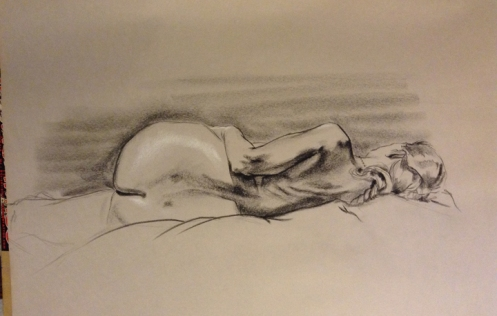 figure drawing back female lying