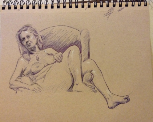 female figure drawing reclining female ball point pen