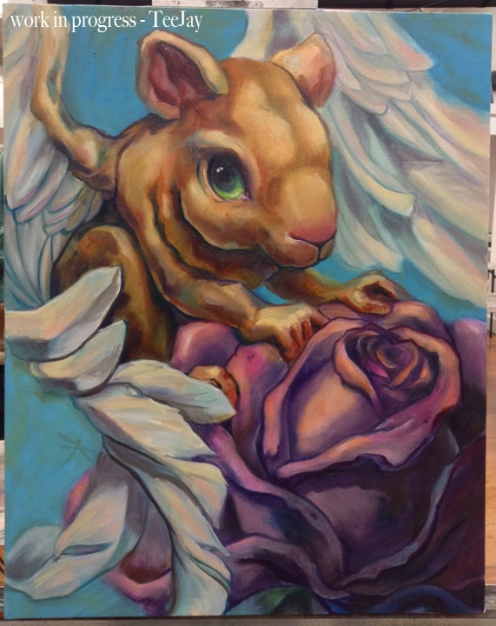 Flying Rodent with rose painting in progress