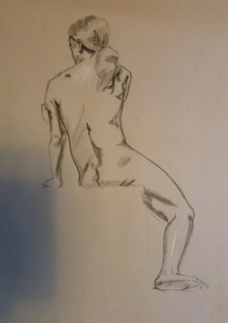 figure drawing male seated back