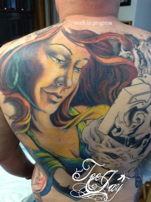 Pandora back tattoo in progress