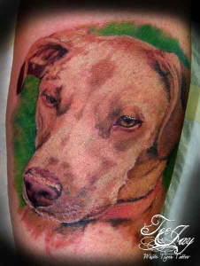 color dog portrait tattoo