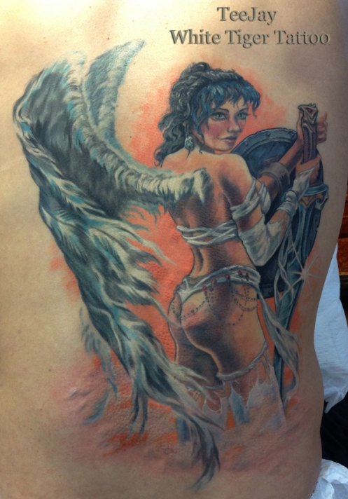 Luis Royo angel tattoo
