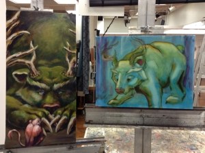 bear paintings in progress by TeeJay