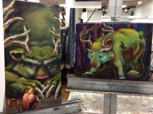 bear oil paintings in progress