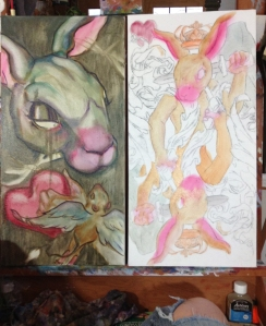 bunny paintings in progress