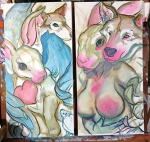 bunny and wolf paintings in progress