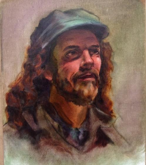 Oil painting portrait underpainting