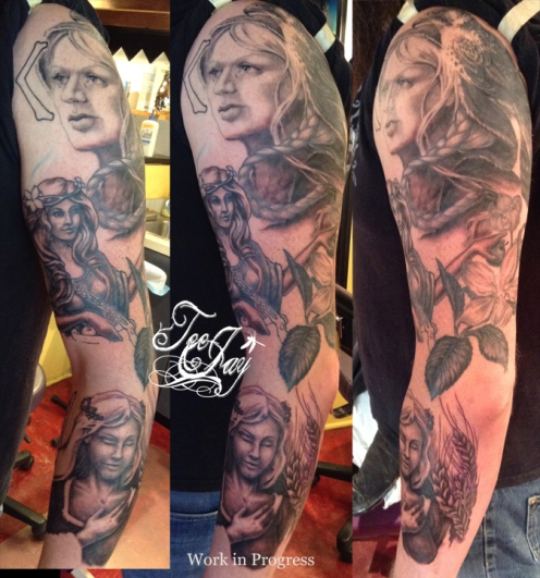 Goddesses tattoo sleeve