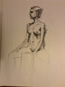 female figure drawing sitting