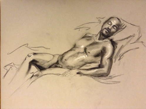 male figure drawing reclining