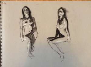 figure drawing female seated underlit