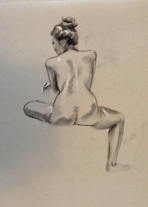 woman seated figure drawing back
