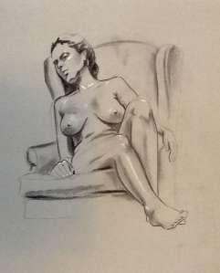 figure drawing female relaxing big chair