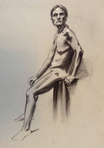 figure drawing male seated