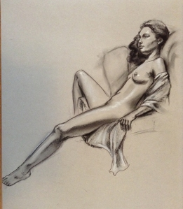 reclining female figure drawing