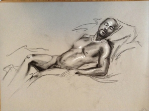 figure drawing male laying down
