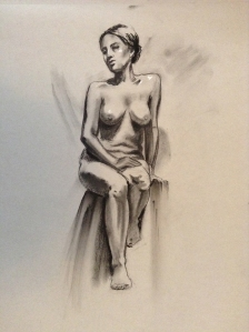 figure drawing female seated on stool