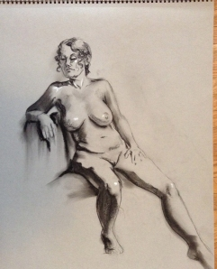 figure drawing female seated leaning