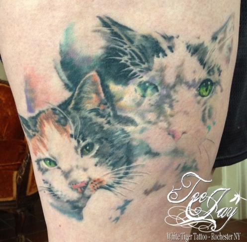 double exposed kitty tattoo