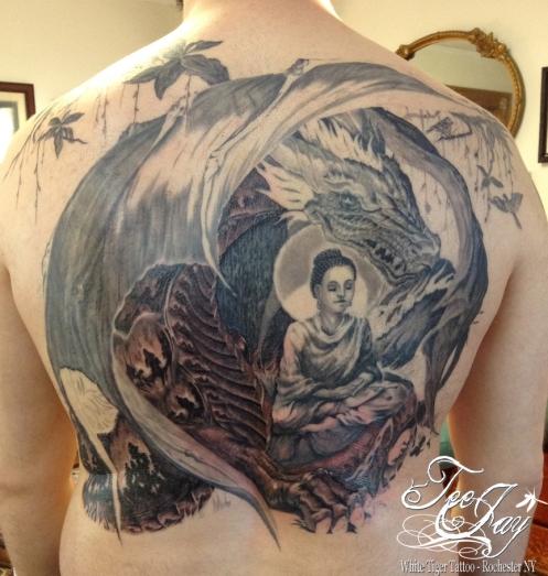 Buudha Back piece tattoo in progress