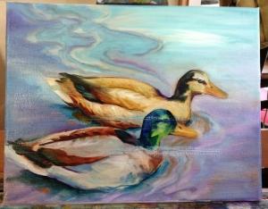 duck painting in progress