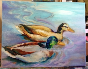 duck painting in progress