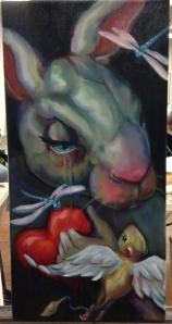 sad bunny painting in progress