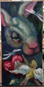 sad bunny painting in progress