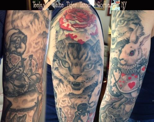 Caterpillar, Cheshire Cat and White Rabbit tattoo